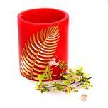 Grehom Wax Hurricane Lamp - Red Fern
