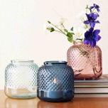 Grehom Recycled Glass Vase- Diamond; 18 cm Flower Vase