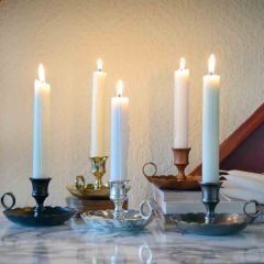 Grehom Brass Candlestick - Mantelpiece (Large); 6 cm Candle Holder
