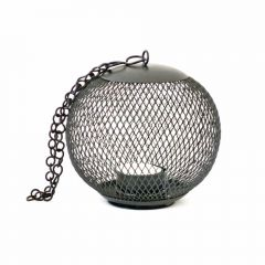 Grehom Tea Light Holder - Cage (Black); Indoor Metal Lantern