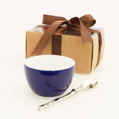 Grehom Porcelain Bowl & Brass Dessertspoon Set- Midnight Blue; Gift Boxed