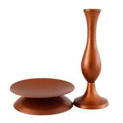Grehom Metal Set of Bud Vase and Reversible Candle Holder- Copper