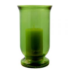 Grehom Recycled Glass Hurricane Lamp (25 cm) - Straight & Tall (Green)