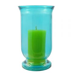 Grehom Recycled Glass Hurricane Lamp (25 cm) - Straight & Tall (Blue)