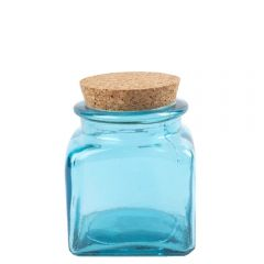 Grehom Recycled Glass Jar- Blue; Cork Lid
