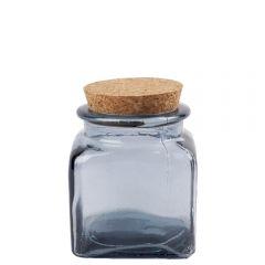 Grehom Recycled Glass Jar- Grey; Cork Lid