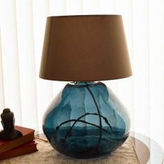 Grehom Table Lamp Base- Dark Blue; 39 cm Recycled Glass Table Lamp Base