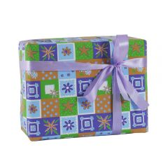 Grehom Gift Wrapping Paper (Set of 2) - Purple & Green Squares