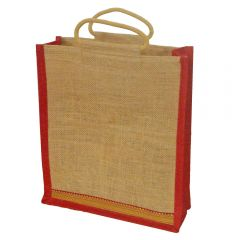 Grehom Hessian Bag Large - Red Zari