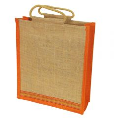 Grehom Hessian Bag Large - Orange Zari