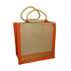 Grehom Hessian Gift Bag Small (Small) - Orange Zari (Set of 2)