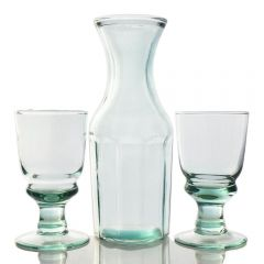 Grehom Recycled Glass Carafe & Glasses Set- Copa ; Handmade Recycled Glassware