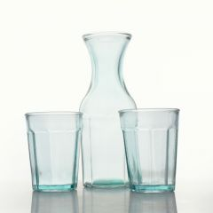 Grehom Recycled Glass Carafe & Tumblers Set- Pleats