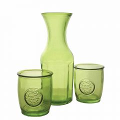 Grehom Recycled Glass Carafe & Tumblers Set- Green ; Handmade Recycled Glassware