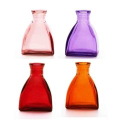 Grehom Recycled Glass Bud Vase - Square Dome (Red-Violet); 10 cm Vase; Set of 4 Multi-coloured Vases