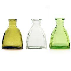 Grehom Recycled Glass Bud Vase - Square Dome (Verdant); 10 cm Vase; Set of 3 Multi-coloured Vases