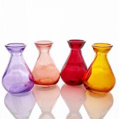 Grehom Recycled Glass Bud Vase - Classic (Red-Violet); 10 cm Vase; Set of 4 Multi-coloured Vases