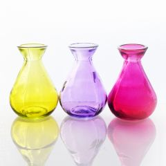 Grehom Recycled Glass Bud Vase - Classic (Candy); 10 cm Vase; Set of 3 Multi-coloured Vases