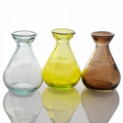 Grehom Recycled Glass Bud Vase - Classic (Delta); 10 cm Vase; Set of 3 Multi-coloured Vases
