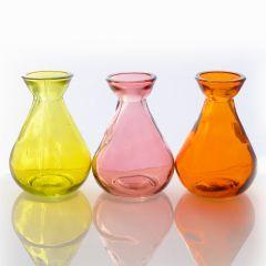 Grehom Recycled Glass Bud Vase - Classic (Dawn); 10 cm Vase; Set of 3 Multi-coloured Vases