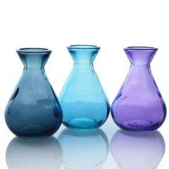 Grehom Recycled Glass Bud Vase - Classic (Opal); 10 cm Vase; Set of 3 Multi-coloured Vases