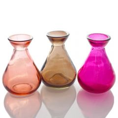 Grehom Recycled Glass Bud Vase - Classic (Prism); 10 cm Vase; Set of 3 Multi-coloured Vases