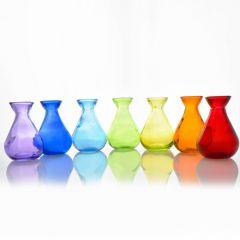 Grehom Recycled Glass Bud Vase - Classic (Vibgyor); 10 cm Vase; Set of 7 Multi-coloured Vases