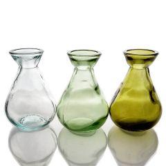 Grehom Recycled Glass Bud Vase - Classic (Verdant); 10 cm Vase; Set of 3 Multi-coloured Vases