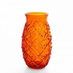 Grehom Recycled Glass Vase - Pineapple (Orange); 17 cm Vase