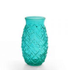Grehom Recycled Glass Vase - Pineapple (Blue); 17 cm Vase