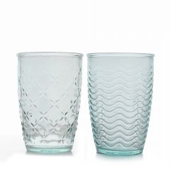 Grehom Recycled Glass Tumbler (Set of 2)- Net and Waves (360ml)
