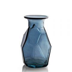 Grehom Recycled Glass Vase - Origami (Blue); 16 cm Vase