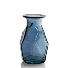 Grehom Recycled Glass Vase - Origami (Blue); 16 cm Vase