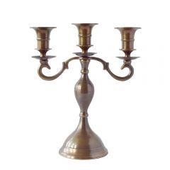 Grehom 3 Arm Candelabra - Pall Mall (Old English); 23 cm Brass Candle Holder