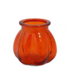 Grehom Recycled Glass Vase- Pumpkin (Orange); 11 cm Vase