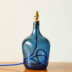 Grehom Table Lamp Base- Demijohn (Dark Blue); 36 cm Recycled Glass Table Lamp Base