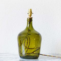 Grehom Table Lamp Base- Demijohn (Olive Green); 36 cm Recycled Glass Table Lamp Base