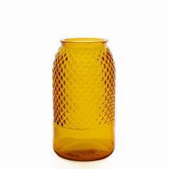 Grehom Recycled Glass Vase- Diamond (Orange); 27 cm Flower Vase