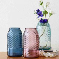 Grehom Recycled Glass Vase- Diamond; 27 cm Flower Vase
