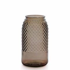 Grehom Recycled Glass Vase- Diamond (Smoke); 27 cm Flower Vase