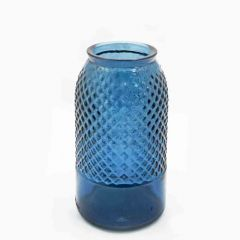 Grehom Recycled Glass Vase - Diamond (27 cm) - Blue