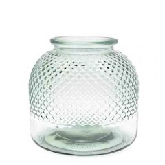 Grehom Recycled Glass Vase - Diamond (Natural); 22 cm Flower Vase