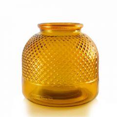 Grehom Recycled Glass Vase - Diamond (Orange); 22 cm Flower Vase