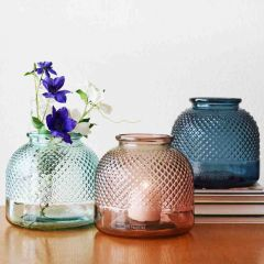 Grehom Recycled Glass Vase- Diamond; 22 cm Flower Vase