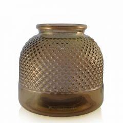 Grehom Recycled Glass Vase - Diamond (Smoke); 22 cm Flower Vase