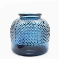 Grehom Recycled Glass Vase - Diamond (Blue); 22 cm Flower Vase