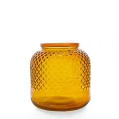 Grehom Recycled Glass Vase - Diamond (Orange); 18 cm Flower Vase