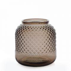 Grehom Recycled Glass Vase - Diamond (Smoke); 18 cm Flower Vase