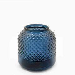Grehom Recycled Glass Vase - Diamond (Blue); 18 cm Flower Vase