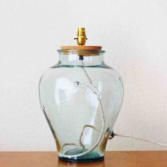 Grehom Table Lamp Base- Martaban (Clear); 42 cm Recycled Glass Table Lamp Base